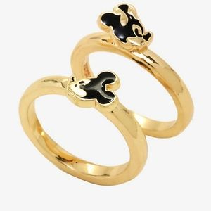 🐭Dainty Mickey mouse double ring set nwt